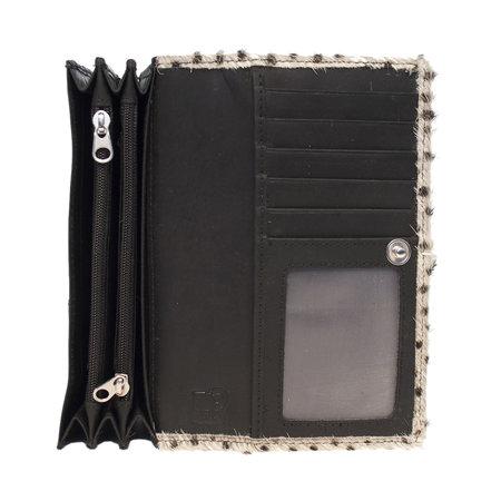 Dames Portemonnee van Zwart Leer met Panter Print