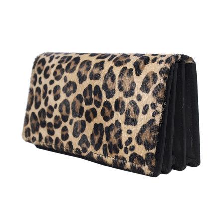 Dames Portemonnee Zwart Leer met Luipaard Print