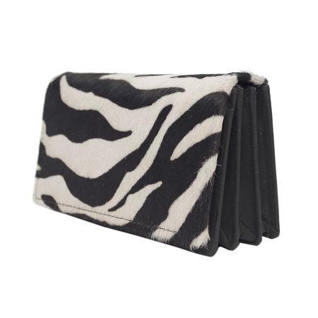 Zwart Leren Portemonnee Dames een Zebra Print