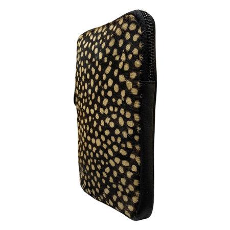 Telefoontasje Zwart Leer met Panterprint