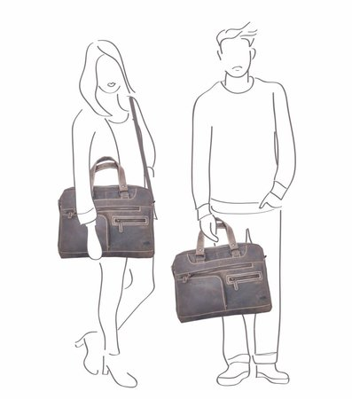 Messenger tas  gemaakt van donkerbruin buffelleer