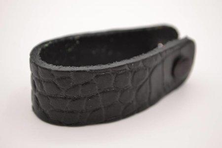 Zwarte  croco echt lederen sleutelhanger