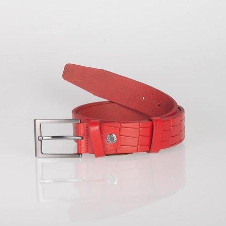 Dikke Leren ceintuur ferrari rood gemaakt van buffelleer met stijlvolle gesp donkere finish