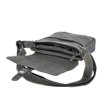 Zwarte buffelleren schoudertas met klep en gesp