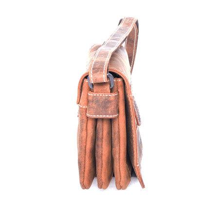 Cognac buffel lederen schoudertasje met schouderband