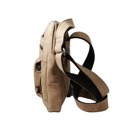 Compact taupe rundlederen schoudertasje
