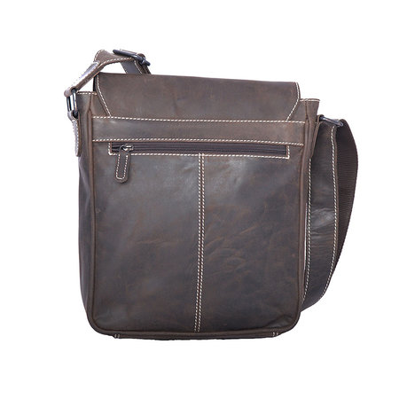 Dark brown buffalo shoulder bag with flap