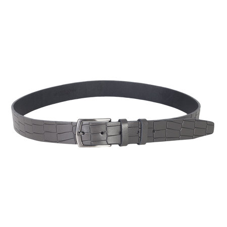 Buffalo leather belt with croco print, 3 cm wide in the color gray