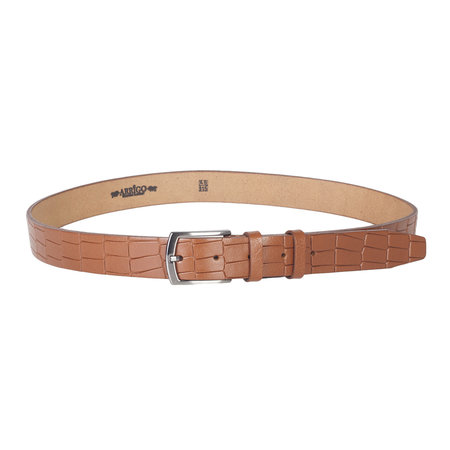 Croco buffalo belt, 3 cm wide in the color cognac / natural