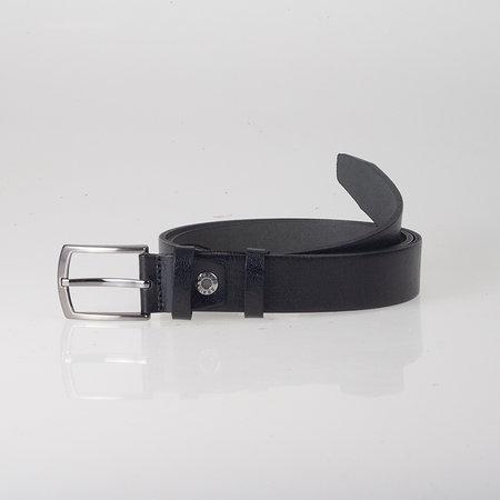 Lederen riem, 3 cm, zwart