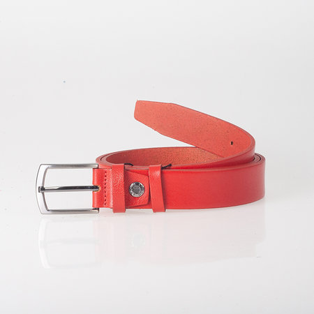 Rode Riem Gemaakt Van Echt Leer - 3 cm Breed