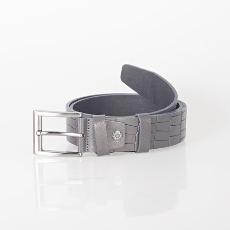 Croco print clothing belt of 4 cm wide made of gray buffalo leather