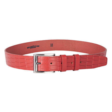 Croco print clothing belt of 4 cm wide made of red buffalo leather