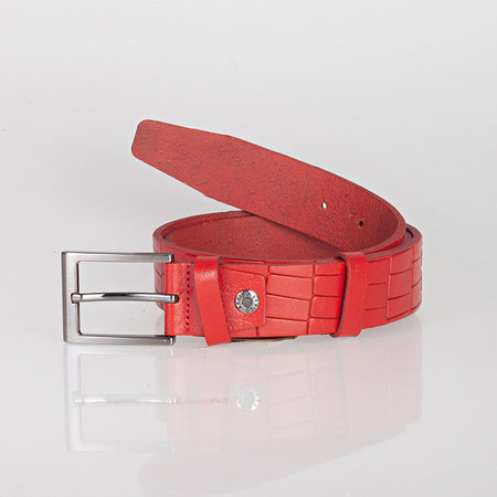 Kleding riem van rood leer met trendy croco print, 3.5 cm breed