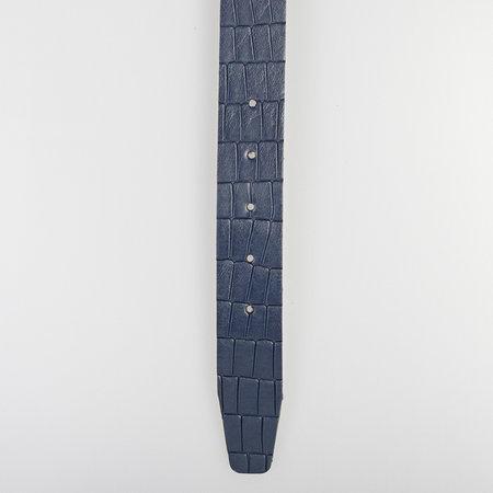 Riem Van 3.5 cm Breed Van Donkerblauw Leer Met Kroko Print