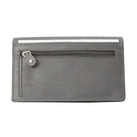 Echt leren dames portemonnee, grijs large
