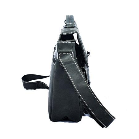 Messenger tas gemaakt van trendy zwart buffelleer