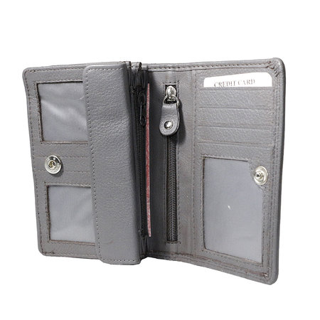 Lederen portemonnee, grijs, medium size
