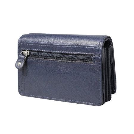 Leren portemonnee, donkerblauw medium