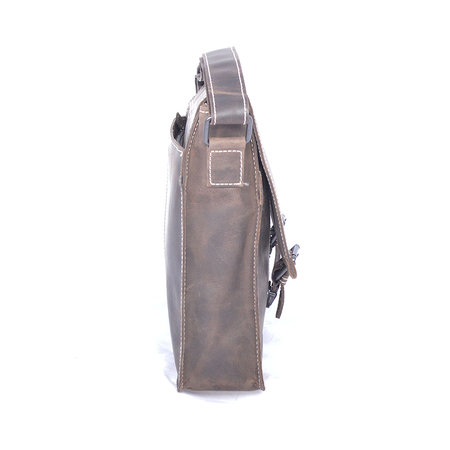Buffelleren messenger tas met gespen, donkerbruin