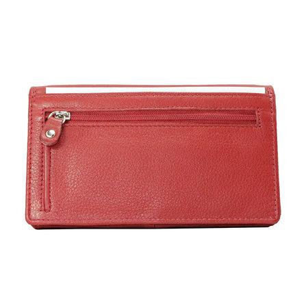 Echt lederen dames portemonnee, rood large
