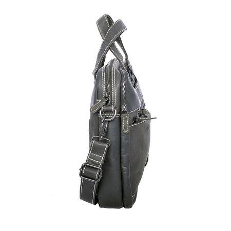 Messenger tas met schouderriem gemaakt van zwart buffelleer