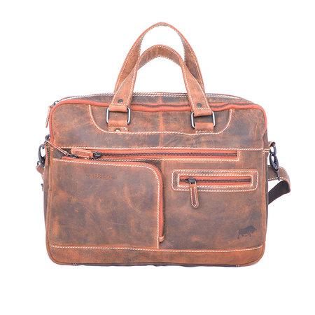 Messenger tas met schouderriem gemaakt van cognac buffelleer