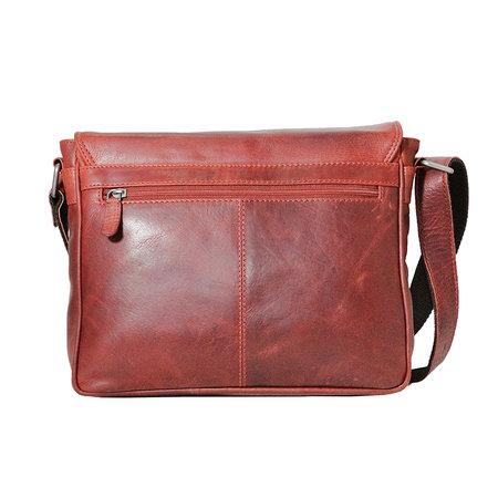 Rood rundleren messenger tas met klep en schouderband