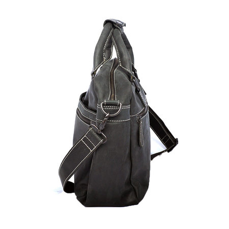 Ruime zwart leren messenger tas/schoudertas met handvatten