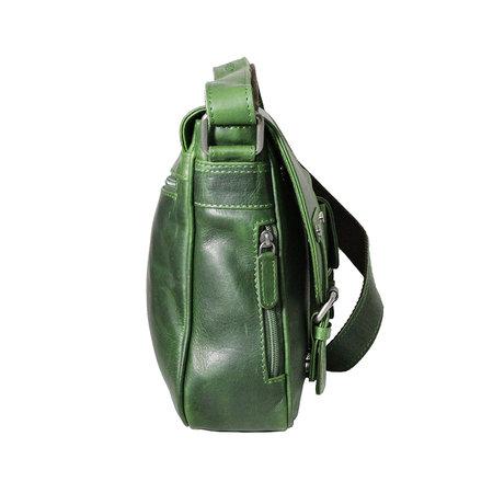 Groen rundleren messenger tas met klep en schouderband
