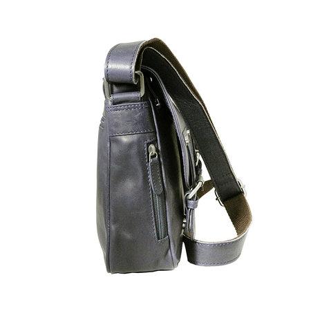 Donkerblauw rundleren messenger tas met klep en schouderband