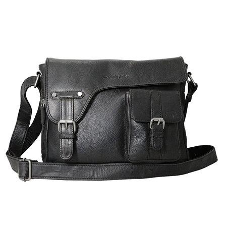 Zwart rundleren messenger tas met klep en schouderband