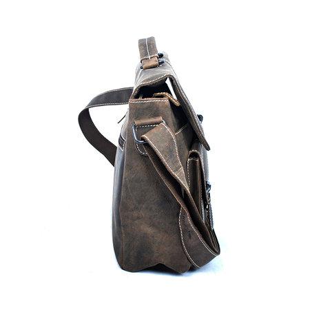 Messenger tas gemaakt van trendy donkerbruin buffelleer