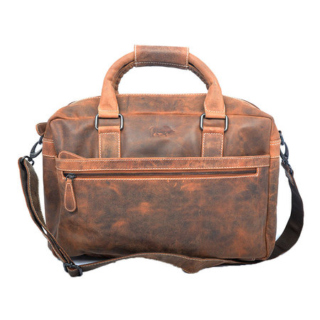 Ruime naturel buffelleren messenger tas/schoudertas