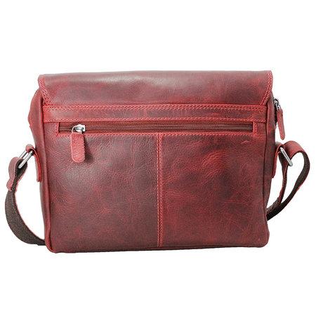 Leren messenger bag met klep en dubbele gesp, rood