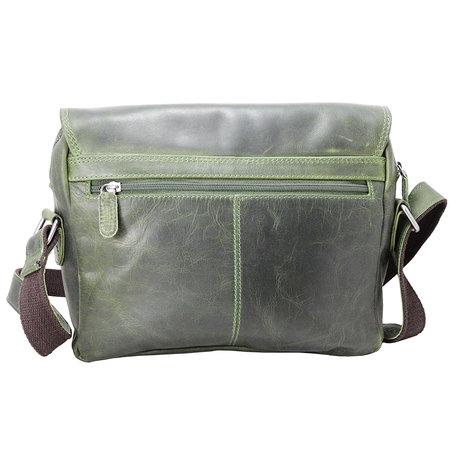 Leren messenger tas met klep en dubbele gesp, groen