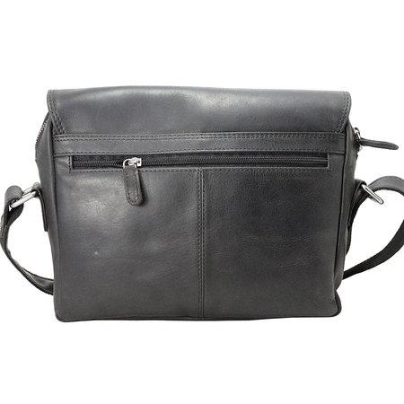 Zwart Leren Messenger Bag Schoudertas