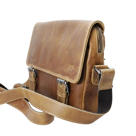 Messenger Bag Van Soepel Lichtbruin Leer