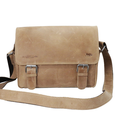 Leren Messenger Bag In De Kleur Taupe