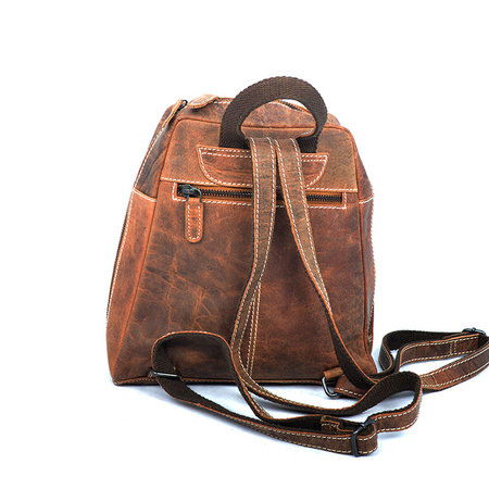 Small Backpack Made Of Cognac Colored Leather