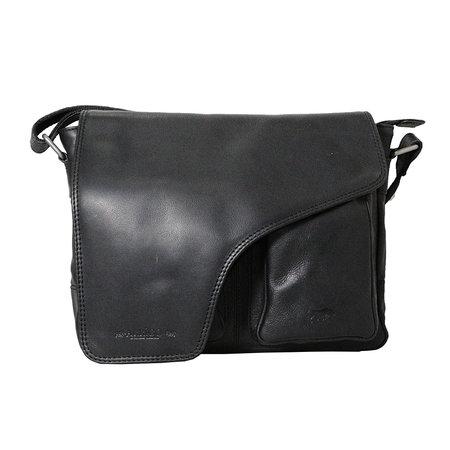 Rundleren messenger tas met klep en schouderband, zwart