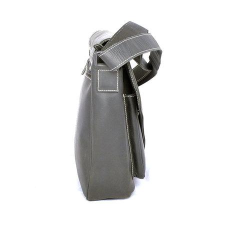 Buffelleren XL messenger tas met klep, zwart