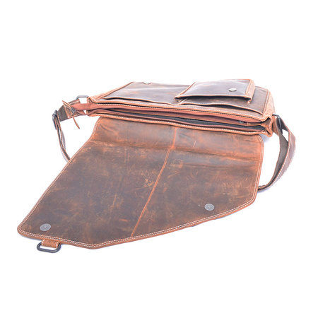 Buffelleren XL messenger bag met klep, cognac