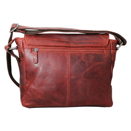 Rundleren messenger tas met klep en schouderband, rood