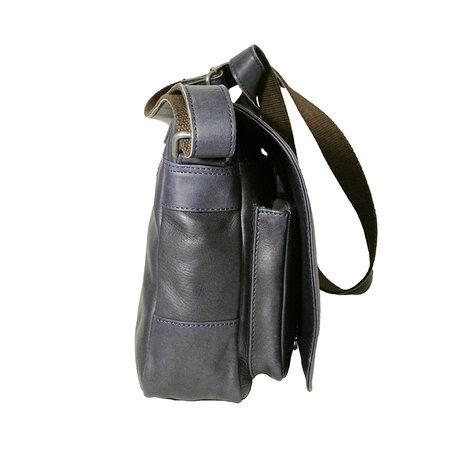 Rundleren messenger tas met klep en schouderband, donkerblauw