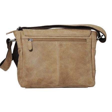 Rundleren messenger tas met klep en schouderband, taupe