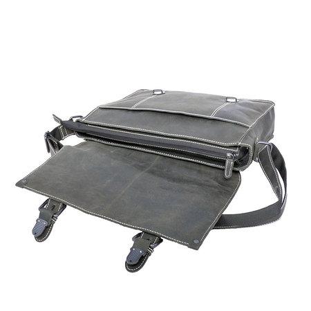 Buffelleren messenger tas met gespen, zwart