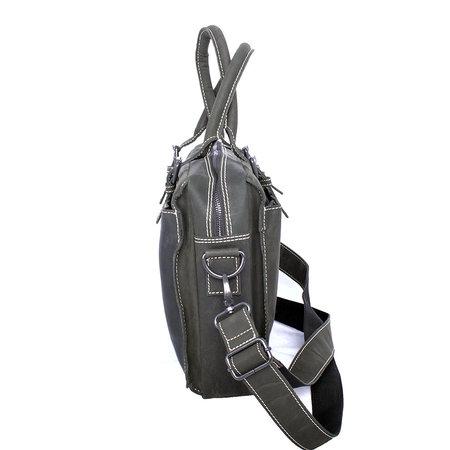 Buffelleren messenger tas met handvatten, zwart
