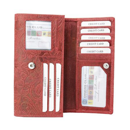 Lederen dames portemonnee met bloemenprint, rood