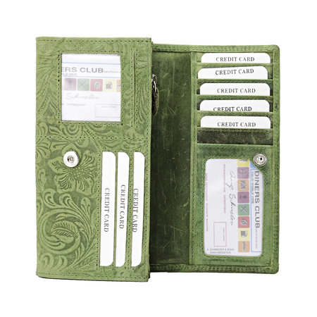 Lederen dames portemonnee met bloemenprint, groen